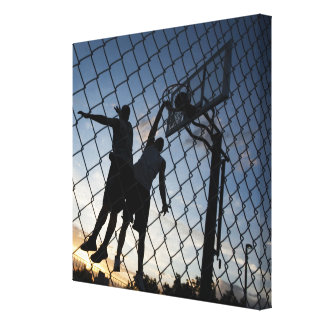 USA, Utah, Salt Lake City, two young men playing 2 Canvas Print