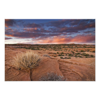 USA, Utah. Sunset on Poison Spider Mesa near Photo Print