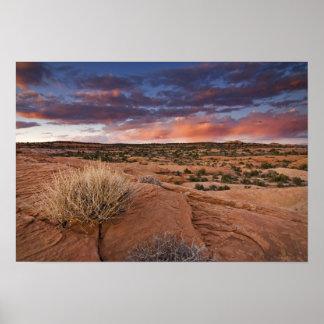 USA, Utah. Sunset on Poison Spider Mesa near Poster