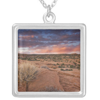 USA, Utah. Sunset on Poison Spider Mesa near Silver Plated Necklace