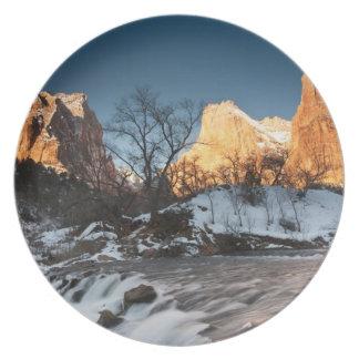 USA, Utah, Zion National Park. Mountain sunrise Plate
