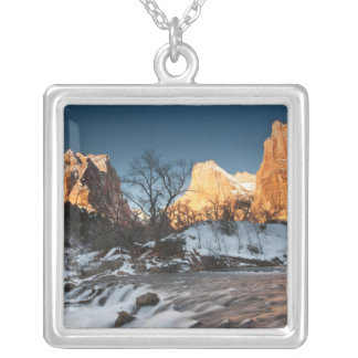 USA, Utah, Zion National Park. Mountain sunrise Silver Plated Necklace