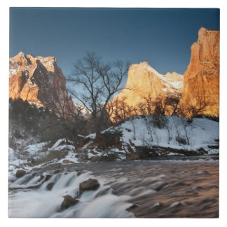 USA, Utah, Zion National Park. Mountain sunrise Tile