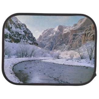 USA, Utah, Zion NP. New snow covers the canyon Car Mat