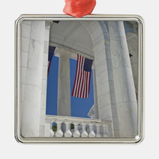 USA, VA, Arlington. American Flags are hung Christmas Ornament