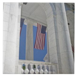 USA, VA, Arlington. American Flags are hung Tile