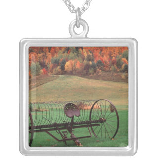 USA, Vermont, Farm. Silver Plated Necklace