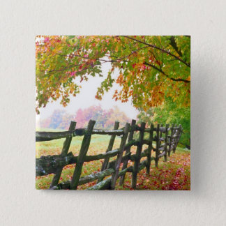 USA, Vermont. Fence under fall foliage. 15 Cm Square Badge