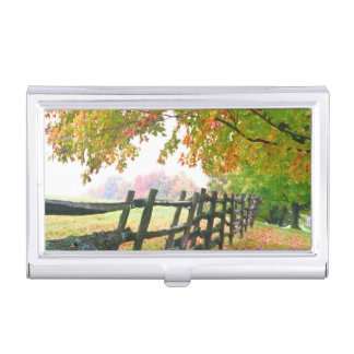 USA, Vermont. Fence under fall foliage. Business Card Holder