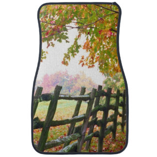 USA, Vermont. Fence under fall foliage. Car Mat
