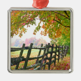 USA, Vermont. Fence under fall foliage. Silver-Colored Square Decoration