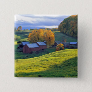 USA, Vermont, Jenne Farm. Rolling green hills 15 Cm Square Badge
