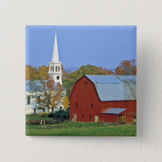 USA, Vermont, Peacham. A red barn and white 15 Cm Square Badge