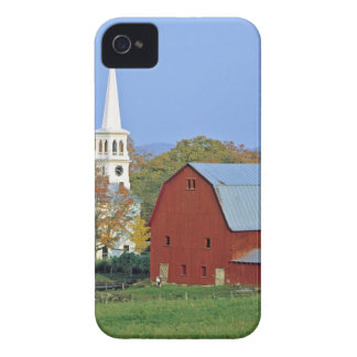 USA, Vermont, Peacham. A red barn and white Case-Mate iPhone 4 Case