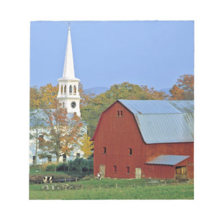 USA, Vermont, Peacham. A red barn and white Notepad
