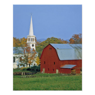 USA, Vermont, Peacham. A red barn and white Poster