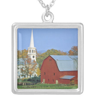 USA, Vermont, Peacham. A red barn and white Silver Plated Necklace