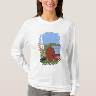 USA, Vermont, Peacham. A red barn and white T-Shirt