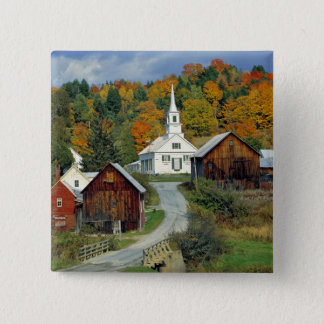 USA, Vermont, Waits River. Fall foliage adds 15 Cm Square Badge