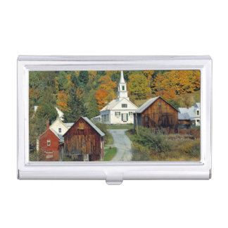 USA, Vermont, Waits River. Fall foliage adds Business Card Holder