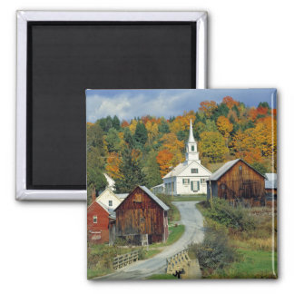 USA, Vermont, Waits River. Fall foliage adds Magnet