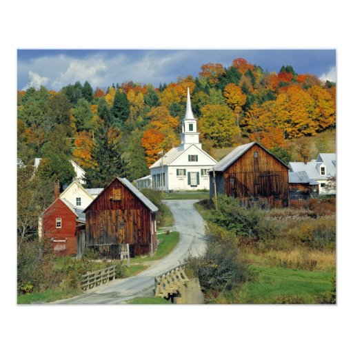 USA, Vermont, Waits River. Fall foliage adds Art Photo