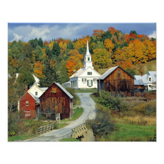 USA, Vermont, Waits River. Fall foliage adds Photo Print