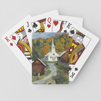 USA, Vermont, Waits River. Fall foliage adds Playing Cards
