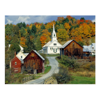 USA, Vermont, Waits River. Fall foliage adds Postcard