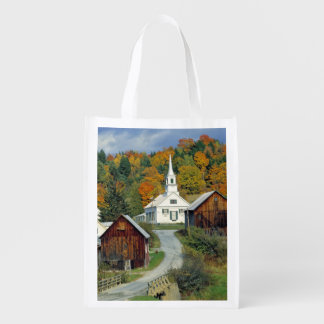 USA, Vermont, Waits River. Fall foliage adds Reusable Grocery Bag