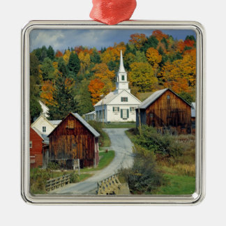 USA, Vermont, Waits River. Fall foliage adds Silver-Colored Square Decoration