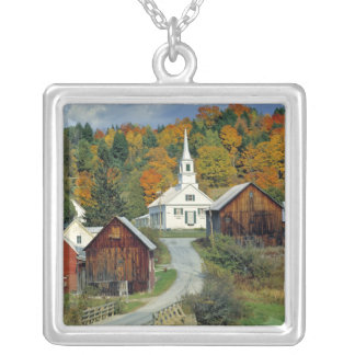USA, Vermont, Waits River. Fall foliage adds Silver Plated Necklace