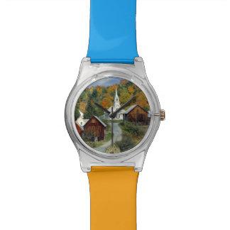 USA, Vermont, Waits River. Fall foliage adds Watch