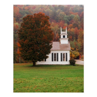 USA, Vermont, West Arlington, Chapel In Fall Poster