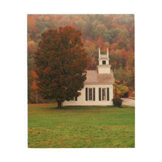 USA, Vermont, West Arlington, Chapel In Fall Wood Print