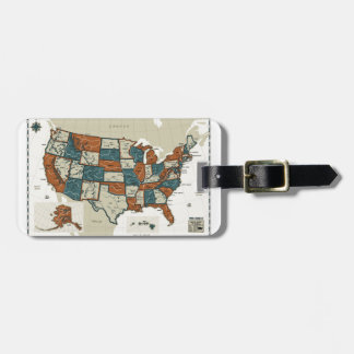 USA - Vintage Map Bag Tag