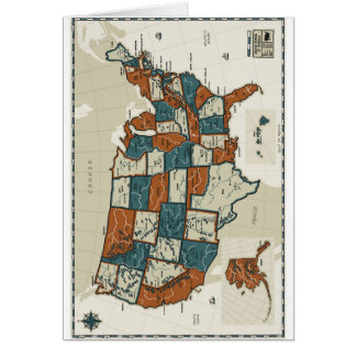 USA - Vintage Map Card