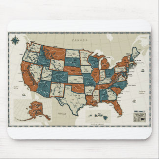 USA - Vintage Map Mouse Mat