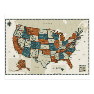 USA - Vintage Map Postcard