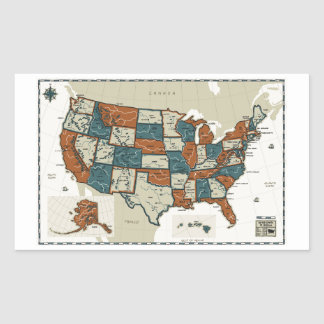 USA - Vintage Map Rectangular Sticker