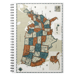 USA - Vintage Map Spiral Note Book