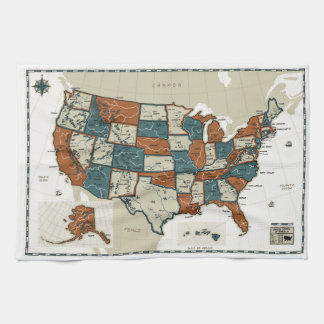 USA - Vintage Map Tea Towel