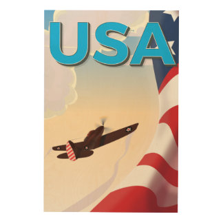 USA Vintage World War Two Poster Wood Canvases
