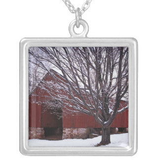 USA, Virginia, Fairfax County, Barn and Maple Silver Plated Necklace
