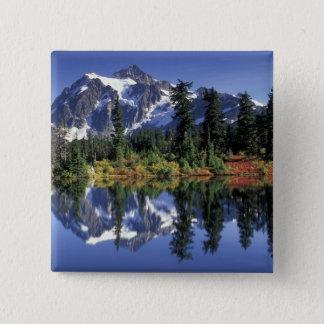 USA, WA, Heather Meadows RA. Mount Shuksan at 15 Cm Square Badge