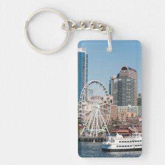 USA, Wa, Seattle. Argosy Harbor Cruise Boat Double-Sided Rectangular Acrylic Key Ring