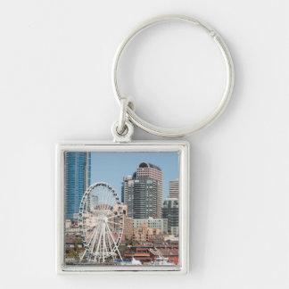 USA, Wa, Seattle. Argosy Harbor Cruise Boat Silver-Colored Square Key Ring