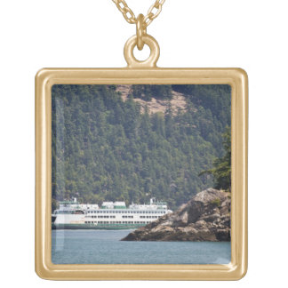 USA, WA. Washington State Ferries Gold Plated Necklace