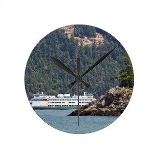 USA, WA. Washington State Ferries Round Clock