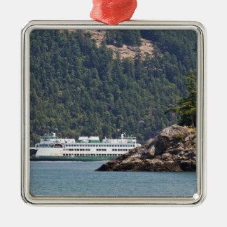 USA, WA. Washington State Ferries Silver-Colored Square Decoration